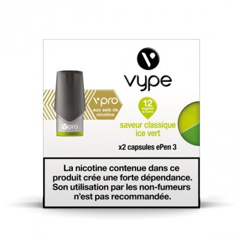 6x2 capsules EPEN 3 VPRO Classique Ice Vert 12mg